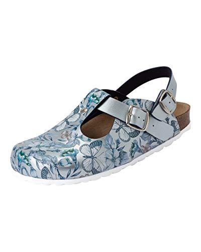 CLINIC DRESS Clog - Clogs Damen bunt Motiv. Schuhe für Krankenschwestern, Ärzte oder Pflegekräfte hellblau metallic, Schmetterlinge 36