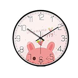 LL-Enjoyy Cartoon Style Wall Clock, Metal Frame Paper Coated Dial Glass Mirror Quartz Clock, Children's Room Kindergarten School Wall Decoration, 3030cm,Rabbit