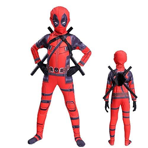 YQFZ Kinder Deadpool Cosplay Kostüm Sport Overall Cosplay Kostüm Für Kinder Weihnachten Geburtstag Party Outfit Maske Schwert Cosplay Kostüm,Child-140CM