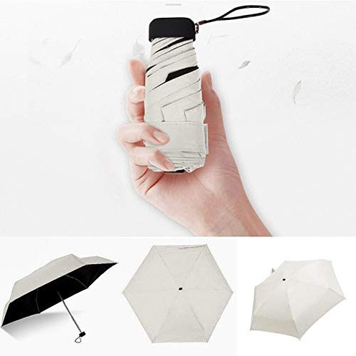Luxuriöser leichter Regenschirm mit schwarzer Beschichtung, 5-fach gefalteter Sonnenschirm, Unisex, tragbar, Taschenschirm – Beige, A1