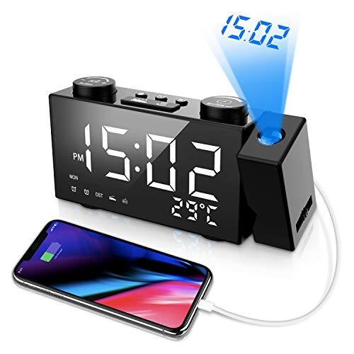 ORSERA Projektionswecker,FM Radiowecker,Digitaler Uhrenradio Tischuhr Wecker mit Projektion und Radio,6\'\' LED-Anzeige Dimmer,Dual-Alarm,12/24h,Sleeper Timer,180°Dreh-Projektor,USB-Anschluss