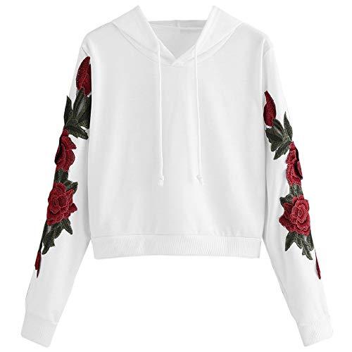 Zegeey Damen Sweatshirt Langarm Floral Drucken Rundhals Kapuzenpullover Herbst Winter LäSsig Mantel Kuschelig Pullover Bluse Oberteil Shirt(Weiß,38 DE/L CN)
