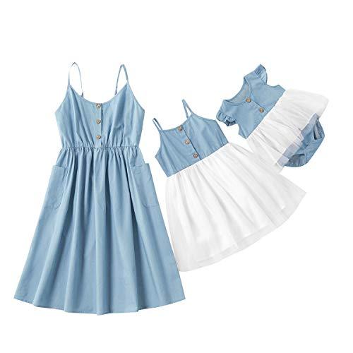 Mutter Tochter Kleid Mama und ich Sommer Midi Kleid Outfit Bedruckte Spaghettibügel Rüschen lässig langes Kleid Familien Kleidung Spitzen Prinzessin Kleid (Mutter, M)
