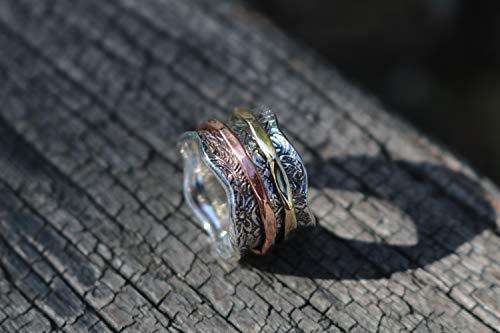 """Bague de Méditation Energy Stone """"Balance et Beauté"""" - Motif floral à 2 anneaux en bronze et laiton - 3"""