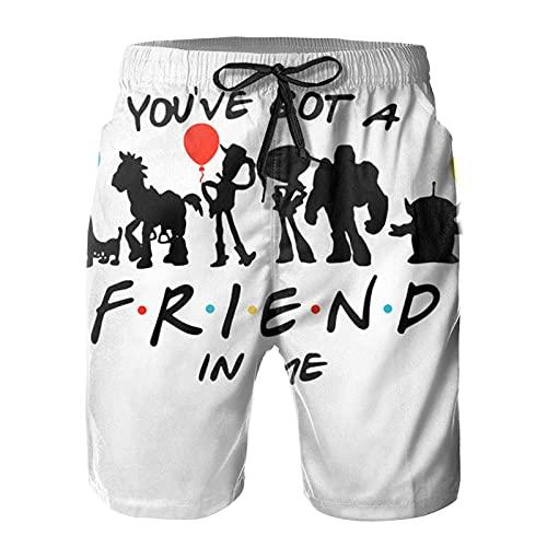 N \ A Love_Friends Tv_Show Signature - Pantalones cortos de playa para hombre, de verano, para natación, deportes, correr, para playa, surf, Multicolor, L