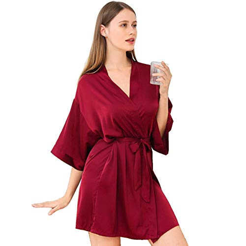 Silk Robes for Women Short Satin Kimono Robes with V-Neck Womens Summer Sleepwear (Red ,XL)