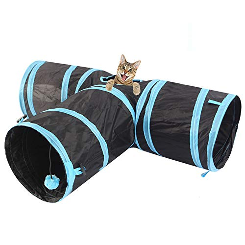 Haoyigou Cat Tunnel Toys, Collapsible 3-Way Pet Toy - Indoor & Outdoor Pet Cats Training Mat Toy, Cat Tent Drill Hole Pet House Toys Bed for Kitten, Rabbit, Puppy (Blue)