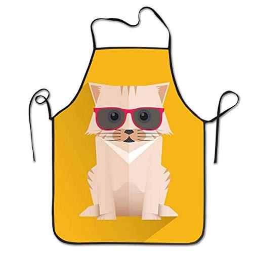 N\A Delantales de Cocina con Gafas de Sol para Gatos, Divertidos Delantales para Adultos, Delantales para niñas, Delantales a Granel para Mujeres