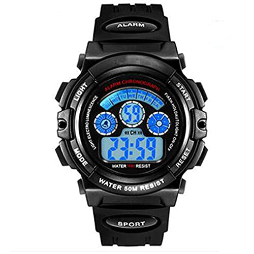 WNGJ Relojes para Hombres Deportes Electronic LED Cronómetro Reloj de Pulsera Digital Relojes de los Hombres tácticos Deportes Militares Electrónico Impermeable Digital A Black