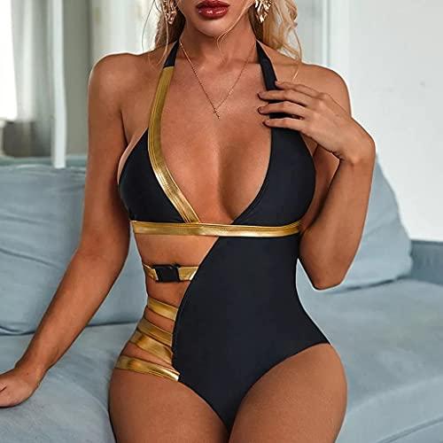 GFDFD Traje de baño Qilang de Bolsa Triangular de Tela Brillante bronceadora de Color Puro 2021 Nuevo Bikini Dividido Reunido (Color : Black, Size : Small Code)