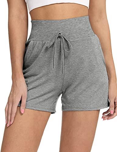 LOMON Comfy Casual Elastic Waist Shorts for Women Summer Beach Cotton Short with Pockets Grey