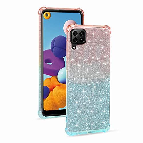 Miagon Weich Gradient Hülle für Huawei P40 Lite,Schlank Stoßfest 2 im 1 Flexibel Handyhülle Stoßstange Schutzhülle Glitzer Cover Mädchen Frauen,Rosa Blau