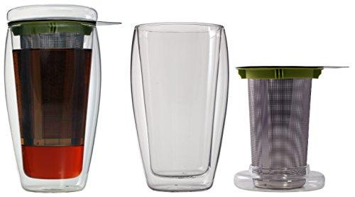 400ml XL doppelwandiger Eistee-/Teebereiter mit Filter und Glasdeckel (4go Thermoglas mit Schwebe-Effekt), ideal für Eistee, fürs Büro, unterwegs oder als Geschenk, von Feelino