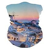 LUPINZ Bufanda mágica, máscara de pesca Grecia Santorini Caldera Sunset Paisaje Tubo máscara, Pasamontañas de cuello y bufanda deportiva Diadema