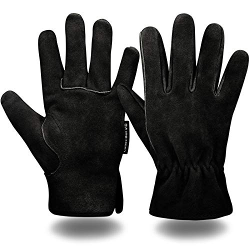 Leather Safety Work Gloves Gardening Carpenter Thorn Proof Truck Driving for Mens and Womens Waterproof heavy duty (Black M)