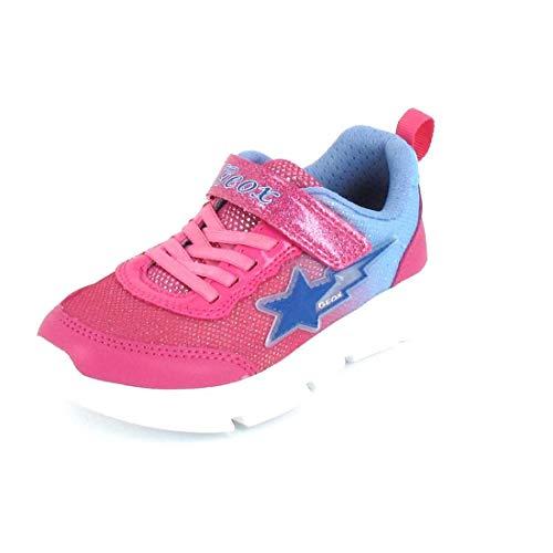 Geox Mädchen Low-Top Sneaker ARIL Girl, Kinder Sneaker,Blinklicht,Kinderschuhe,Sportschuhe,Freizeitschuhe,Pink (Fuchsia/Sky),28 EU / 10 UK Child