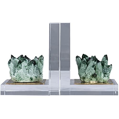 WXBHOZ Sujetalibros De Cristal Verde De Lujo De Alta Gama, Decoración Cristal Transparente del Tapón del Libro del Escritorio del Gabinete del Vino De Villa, Obsequios Empresariales Un Par