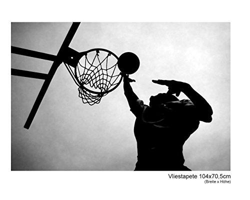 Fototapete–Papel pintado papel pintado Baloncesto Deporte nba América futbolistas Athlet–cuadro decorativo moderno blanco y negro xxl Tren No. 41_ II, multicolor, 104x70,5cm