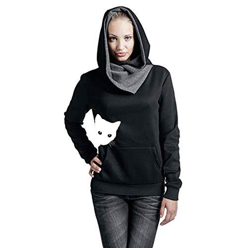 Lulupi Kapuzenpullover Damen Hoodie Pullover mit Katzenmotiv, Winterpullover Rollkragenpullover Warmer Fitness Pulli Cowl Neck Sweater Sweatshirt