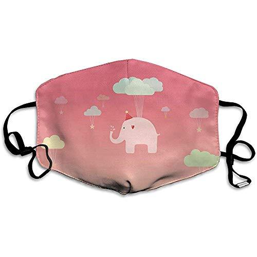 Mond Maskers Leuke Olifant Roze Vliegen Patroon Mooie Comfortabele Unisex Mond Masker Outdoor Herbruikbare Anti StofPark Wasbaar Mode Ontwerp Volwassen School Kleurrijke afdrukken Cozy 11X1