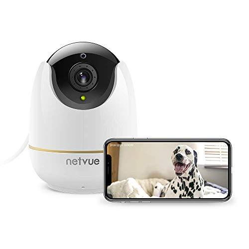 Netvue Telecamera Sorveglianza Interno, 1080P Full HD Webcam Wifi Senza Fili con Rilevamento di Umano Movimento, Zoom 8x, Visione Notturna, Audio Bidirezionale, Videocamera per Cani/Animali