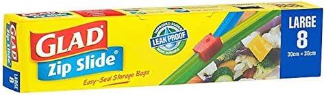 Glad Zip Slide Bags - Large, 8s