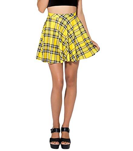 Falda Plisada Mujer Elegante Sencillos Diario Verano Casual A Cuadros Minifalda Woman Tallas Grandes Corto Faldas (Color : Amarillo, Size : S)