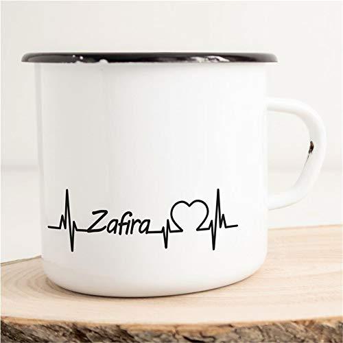 HELLWEG DRUCKEREI Emaille Tasse für Opel Zafira Fans Herzschlag Puls Geschenk Idee für Frauen und Männer 300ml Retro Vintage Kaffee-Becher Weiß mit Auto-Liebhaber Motiv für Freunde und Kollegen