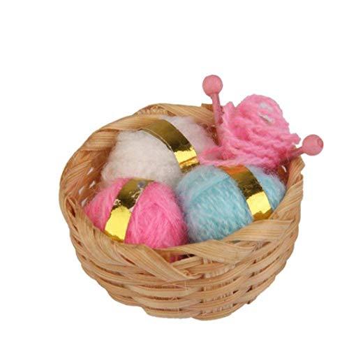 xuew Empfindliche 01.12 Puppenhaus Miniatur Nadel Korb Mini Puppenhaus Knitting-Werkzeug-Set Dekoration Zubehör Vivid Toy Modell