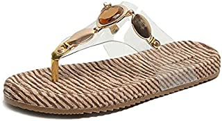 CHENDX New Flip-Flop Female Summer Flat Sandals Fashion Rhinestone Metal Beach Slippers