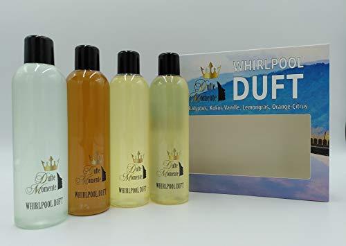 Whirlpoolduft 4 x 250ml - Eukalyptus, Kokos-Vanille, Lemongras, Orange-Citrus - das exklusive Set von Dufte Momente in attraktiver Umverpackung