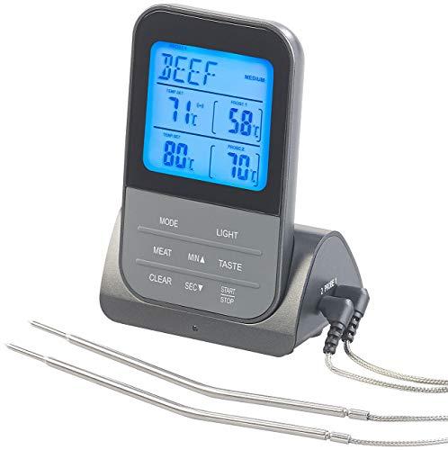 Rosenstein & Söhne Backofenthermometer: Funk-Braten- & Ofenthermometer mit 2 Fühlern & XL-Display, bis 250 °C (Funk Braten Thermometer)