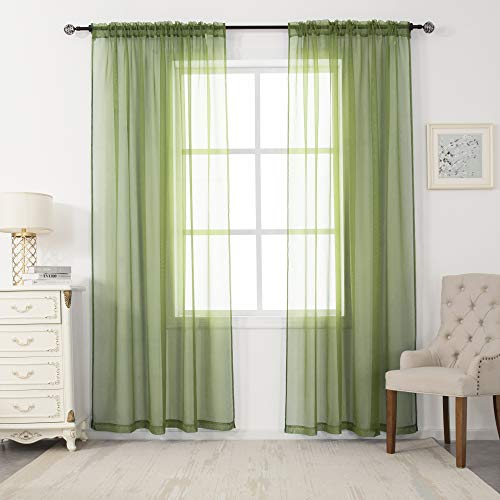 2 Panels Sheer Voile Curtains Draperies - Window Treatment Rod Pocket Light Filtering Curtains Drapes Panels for Bedroom Living Room Party Backdrop, Sage, 52 Inch by 84 Inch