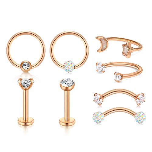 LAURITAMI 16G Tragus Earrings Lip Rings Studs Surgical Steel Cartilage Rook Daith Helix Earring Curved Barbell Eyebrow Rings Horseshoe Barbell Captive Bead Hoop Earring Piercing Jewelry Set