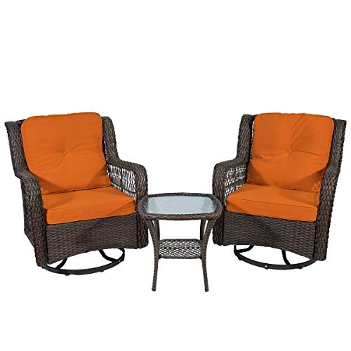 X&T 3-Piece Patio Furniture Swivel Rocking Rattan Chairs Set,Outdoor Conversation Set, Bistro Table Sets, Brown Wicker Sofa Chair Sets of 2 with Glass Coffee Table of 1