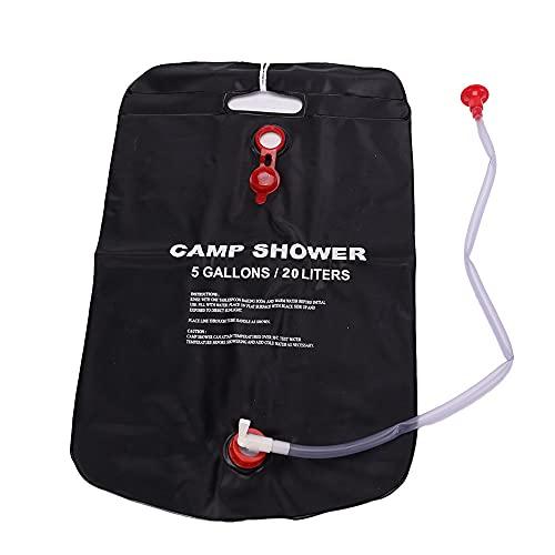 Ajing Bolsa de ducha para camping, bolsa de ducha con energía solar, plegable, útil bolsa de almacenamiento de agua portátil para viajes al aire libre, senderismo, playa, natación, 5 galones/PVC