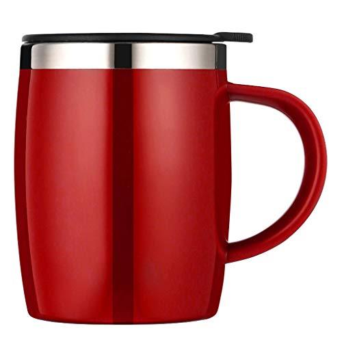 Bouteille isotherme réutilisable en acier inoxydable avec tasse isolée du bureau 16oz de la poignée de couvercle (Color : Red)