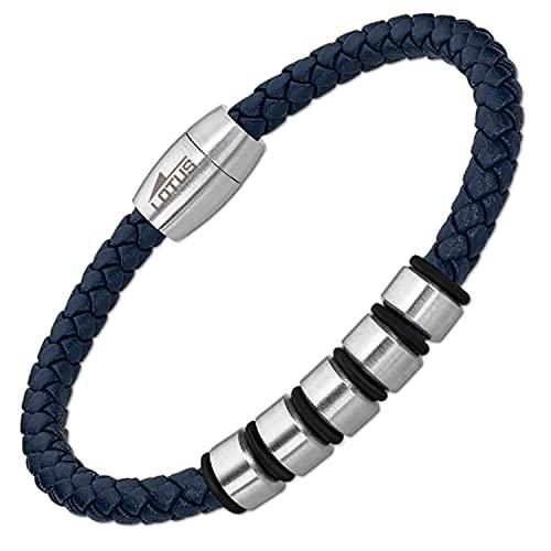 Lotus Bracelet Homme Acier Cuir Bleu tressé