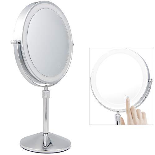 SWAWIS LED Kosmetikspiegel Spiegel mit 7 Fach Vergrößerungsspiegel 360° Schwenkbar Standspiegel mit Touch Button Höhenverstellbar