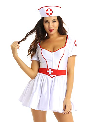 iEFiEL Krankenschwester Kostüm für Damen und Mädchen Halloween Karneval Fasching Kleid V-Ausschnitt Minikleid Tutu mit Haube Verkleidung Weiß X-Large