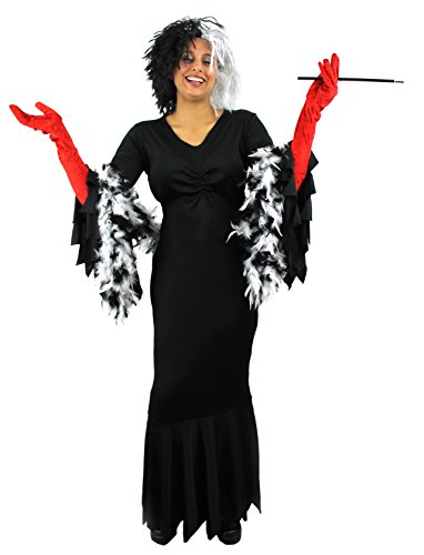 Déguisement de la femme cruelle envers les dalmatiens avec une robe + une perruque afro+ un boa + un fume...
