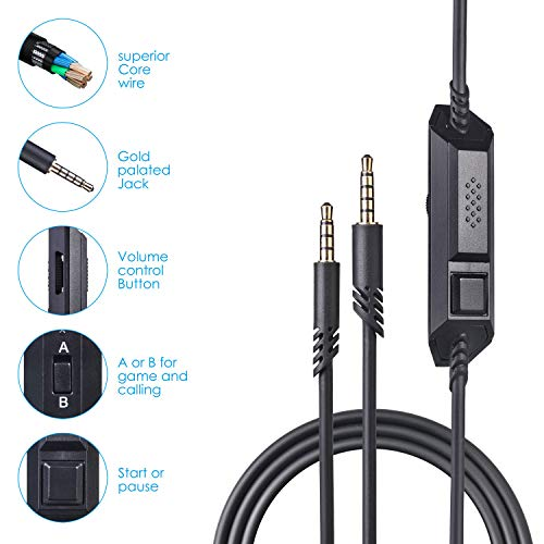 Replacement Astro 2.0M A40 Mobile Cable Cord with Mute/MIC/Volume Control Function Also Works with A10 &A40TR Gaming Headsets Xbox one ps4 Controller (2 Meter)