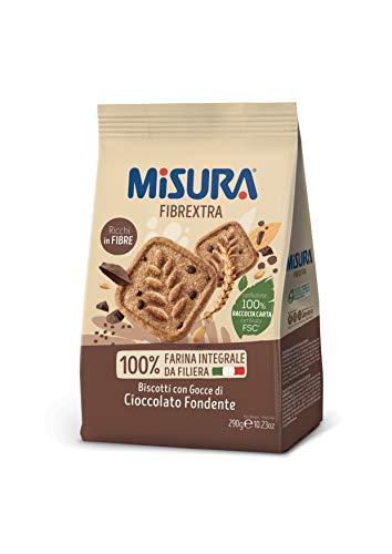 Misura Biscotti Integrali Fibrextra con Gocce di Cioccolato Fondente | 100% Farina Integrale | Ricchi in Fibre | Confezione da 290 grammi