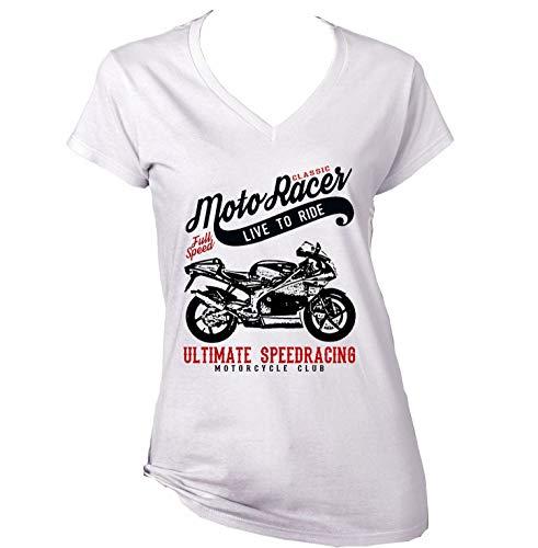Teesandengines Aprilia rs 125 Classic Moto Racer Ultimate Speed Racing Tshirt di Cotone Bianca da Donna Size XLarge