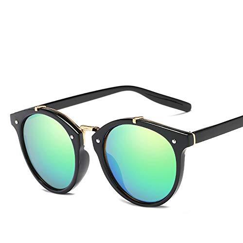 WDDYYBF Zonnebril, Casual Fgrayion Lady ronde zonnebril Vrouwen Mannen Intage Riet Frame Spiegel Zonnebrillen Voor Vrouwelijke U400 Zwart Frame Groen Lens