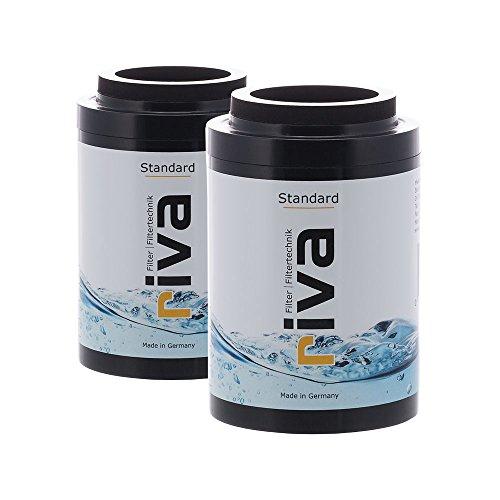 Riva Filter | Filtro de ducha estándar, juego de 2 cartuchos de repuesto, filtro de agua, protege contra el cloro y los contaminantes, reduce la cal, compatible con Hzwo