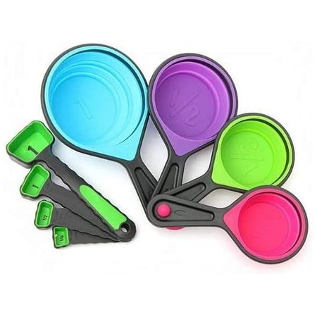 Collapsible Silicone Measuring Spoons 4 Set Foldable Colour Kitchen tool V4Y3