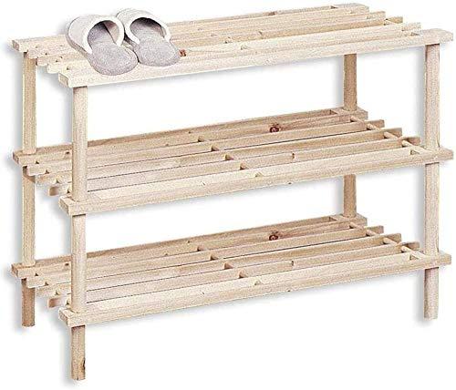 A-Generic Shoemaker Natural de Madera. Estanterías Disponibles en 3 tamaños. Diseño Simple y Compacto. Ideal para Cualquier rincón de su hogar. (Natural, 3 Alturas)-Natural_3 Alturas
