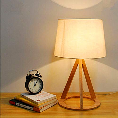 U-Enjoy Chandelier New Novel Table Lamp Wooden Top Quality Industrial Lamp 500Mm Modern Wood&Cloth Table Lamp for Reading Style Desk Lighting E27 Bedside Lamp Free Shipping [White]