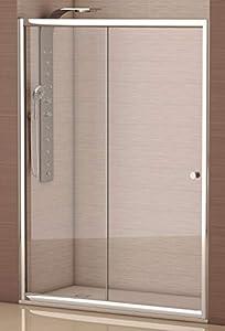 Mampara de Ducha con Frontal Hoja Fija + Corredera con Cristal Templado y Perfil Cromado Efecto Plata ANCHO 150 (Adaptable 148 a 150cm)